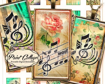 Music Key / 1x2 inch domino pendant images Digital collage sheet printable images jewelry backgrounds d107
