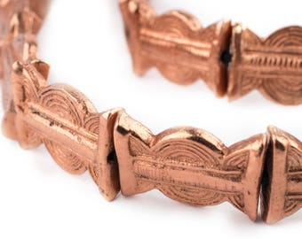 16 Copper Baule Sun & Moon Beads 27x20mm: Copper Baule Beads Tabular Beads Metal Spacer Beads Flat Shaped Beads Copper Flat Beads