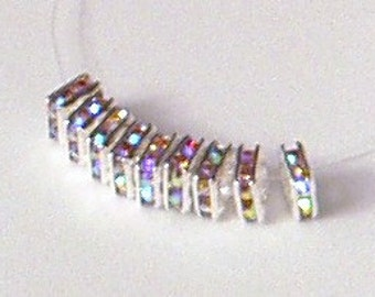 10pc - 6mm Rare Vintage Swarovski Crystal AB Rhinestone Rondelle Square Squaredelle Bead Spacers