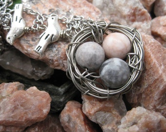 Three Bird Nest Necklace / Speckled Egg Nest Necklace with Pink and Grey / Three Egg Nest Pendant / Bird nest with grey eggs
