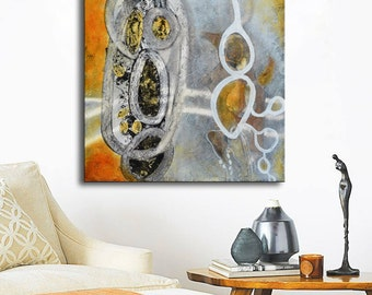 Modern Abstract Painting, Gray painting, yellow painting, Contemporary art, ready to hang, grey painting, painting on wood, gray abstract
