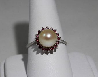 14K White Gold Pearl and Ruby Halo Ring