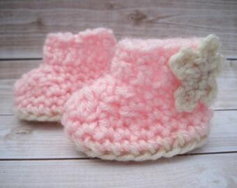Crochet Baby Booties, Crochet Booties, Pink Baby Booties, Baby Girl Booties, Newborn Booties, Infant Girl Booties, Baby Girl Crib Shoes