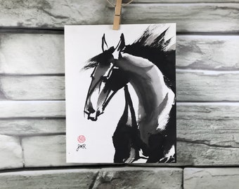 "Horse art original - ""Startle"" - Chinese brush painting"