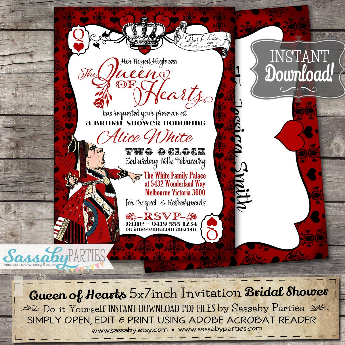 Queen of Hearts Invitation INSTANT DOWNLOAD Partially