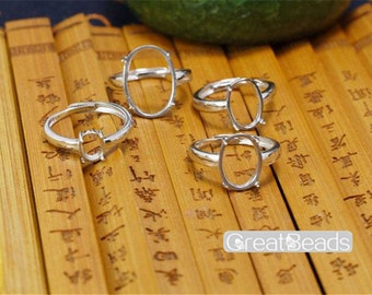 Ring Blank for 6x7mm/7x9mm/9x11mm/10x12mm/12x16mm/13x18mm Oval Cabochons White Gold Plated 925 Silver Adjustable Band Ring Base JZ006