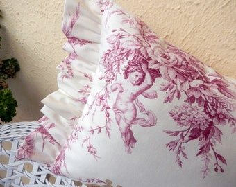 Beautiful Cherubs from Paris wine red and a touch of yellow makes French decor pillow