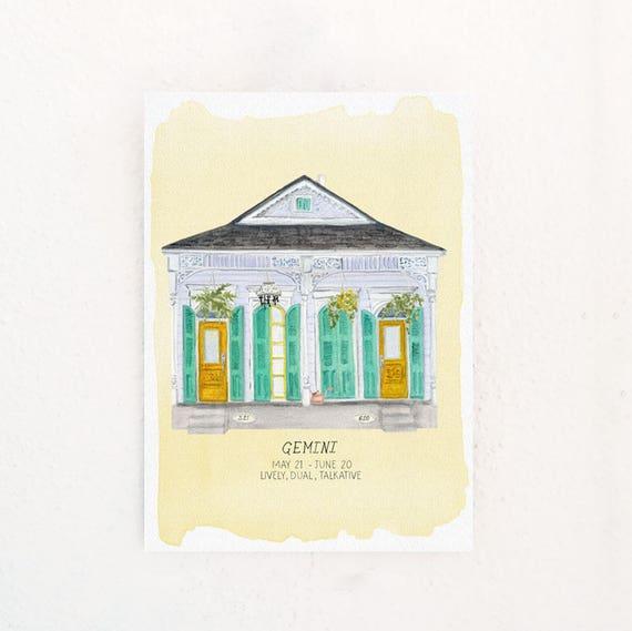 Gemini Houses of the Zodiac Print