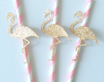 Pink and rose gold Flamingo paper straws - baby shower / birthday