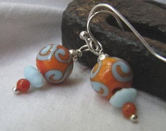 orange & blue lampwork earrings