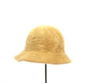 Furry Buff Beige Hat Vintage Orvis Fashion Hat Brim Hat Retro Hipster Women's Cap Size Medium