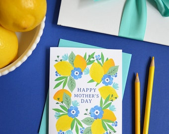 Happy Mother's Day, Lemons, Mother's Day Card Floral, painted flowers, Pretty, Hand-lettered, Greeting Card, Hand Drawn, Mom, Mama, Momma
