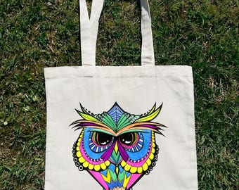 Owl Tote Bag, Abstract Tote Bag, Abstract Animal, Animal Tote Bag, Colorful Tote, Colorful Animal, Bird Tote Bag, Abstract Bird, Owl Gift