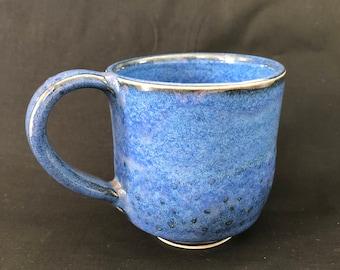 Deep Blue Coffee Mug with Texture and Flowing Glaze