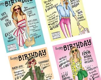 Birthday Cards, Birthday blank cards, fashion cards, fashion stationary, fashion birthday, blank cards