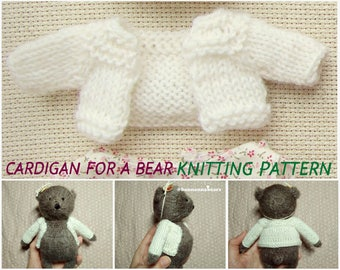 Bear clothes pattern Knitting toy clothes amigurumi pattern Small toy cardigan Little toy sweater Toy knitting pullover pattern for begginer