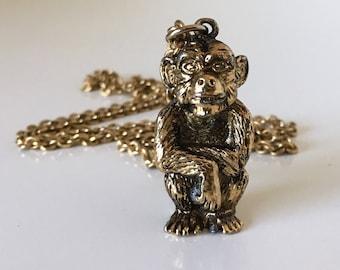 Vintage Monkey Pendant Necklace