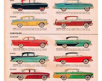 vintage mid century classic american car catalog illustration digital download