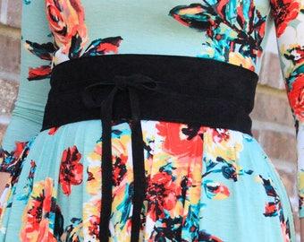 Obi Belt - Genuine Suede Leather - Black Belt - Wrap Belt - Black Obi - Black Suede - Style - Slimming - Soft Pliable