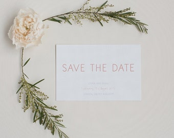 Rustic Peach Save the Date - Modern Minimal Save the Date - Wedding Save the Date card