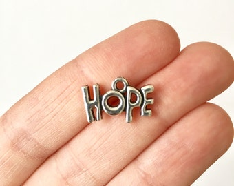 10 Hope Charms with Antique Silver Toned Finish - SC1507