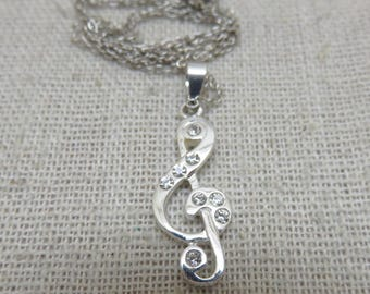Petite Sterling  Treble Clef  Pendant Necklace, 18 Inch Sterling Chain