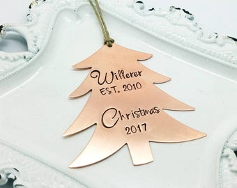 Personalized Christmas tree ornament - tree ornament - copper tree ornament