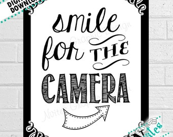 Photo Booth Sign, Smile for the Camera Sign, Wedding Photo Booth, Photo Prop Party Decor, Photo Booth Display, Photo Booth | PRINTABLE