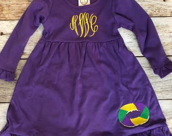Girls Embroidered Mardi Gras Dress with King Cake
