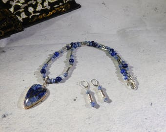 Sodalite Jewelry, Blue White, Pendant, 2 Piece Jewelry Set, Beaded Necklace, Matching Earrings, Denim, Spring  accessories, Heart Clasp