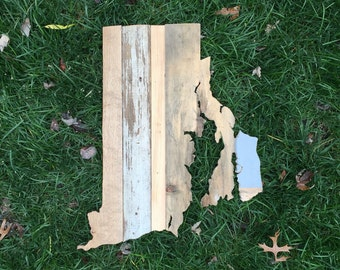 Rhode Island Reclaimed Wood State Outline Wall Art - Large
