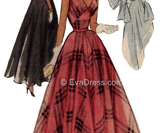 1951 Evening Gown, Slip & Stole Pattern by EvaDress