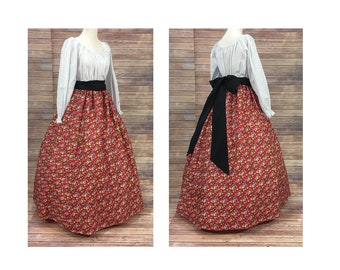 Adult Size M Medium Complete Outfit-Skirt, Blouse and Sash-Renaissance Civil War Victorian Southern Belle Medieval Pioneer Dress Costume