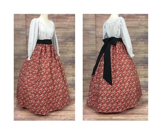 Adult Size S Small Complete Outfit-Skirt, Blouse and Sash-Renaissance Civil War Victorian Southern Belle Medieval Pioneer Dress Costume