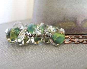 Glass Necklace, Teal Green Glass, Copper Necklace, Copper, Copper Jewelry, Copper Chain, Lampwork Glass
