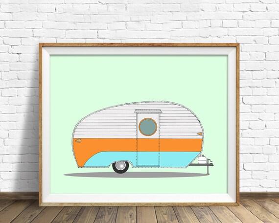 Va-Ka-Shun-Ette, 1956- drawing, vintage camper, vintage trailer, art print, large art, large wall art, mid century modern, contemporary, art