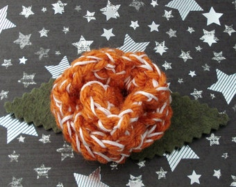 Donna Noble - Crocheted Rose Lapel Pin - Orange and White (SWG-PL-DWDN01)