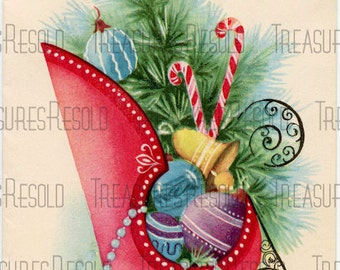 Sleigh Filled With Christmas Ornaments Card #147 Digital Download