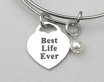 """Stainless Steel Charm"""" Best Life Ever, JW Jewelry, Best Friend Gift, Pioneer Gifts, Jehovahs Witness, Christian Gift, AAA Quality"""