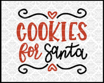 CLN0691 Cookie For Santa Christmas Plate Hand Lettered SVG DXF Ai EPs PNG Vector Instant Download Commercial Cut File Cricut SIlhouette
