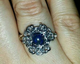 Byzantine Chainmaille Ring with Gemstone bead