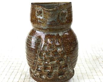 Janka McClatchey Glazed Pottery Owl Pitcher