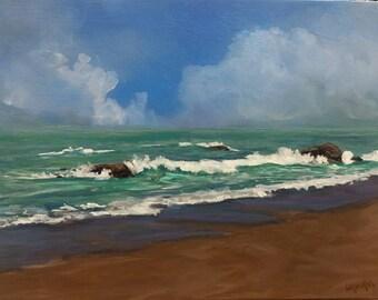 Original acrylic painting by Laura Campos//coastal art//seascape//beach cottage//mini art//small painting//home decor//table art//beach art
