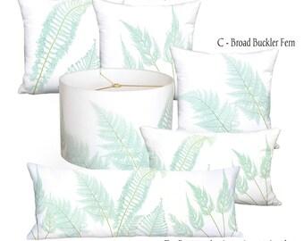 Sea Glass Fern Pillow Cover - Sea Glass Green Aqua Fern Rectangular Pillow - 16x 18x 20x 22x 24x 26x 28x Inch Linen Cotton Cushion Cover