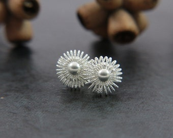 handmade silver filigree buttons studs, tiny earrings