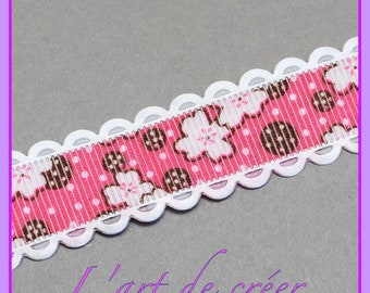 1 meter Ribbon pink polka dots and flower, lace, 15 mm grosgrain Ribbon