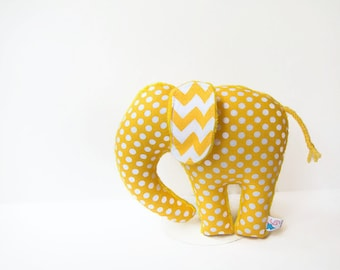 Yellow Polka Dot Chevron Elephant Softie Plush Animal Ready to Ship