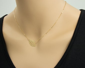 SALE! Leaf Gold Plated Necklace, Leaf Jewelry, Gold Filled Necklace, Gold Leaf - Cute, Dainty, mother, mom, teen, Brithday gift