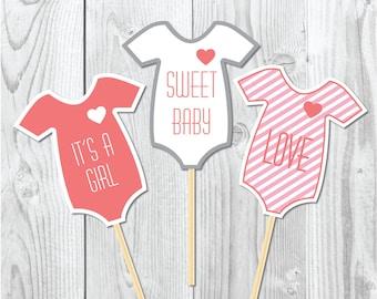 Baby shower onesies photoprops digital printable, it's a girl baby shower party printables, printables photoprops, onesies photoprops
