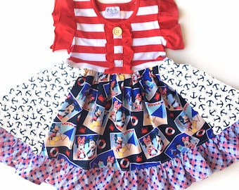 Mickey Mouse summer red white blue dress 4th of July beach dress Minnie Mouse dress Disney dress Momi boutique custom dress